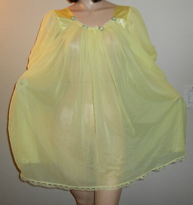 Vintage Gmc  Sheer Chiffon Lemon Drop Baby Doll Nightie Lingerie Sissy