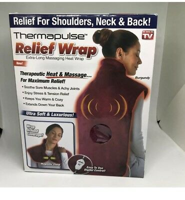 Thermapulse Relief Wrap Extra-Long Massaging Heat Wrap As Seen On TV Burgundy