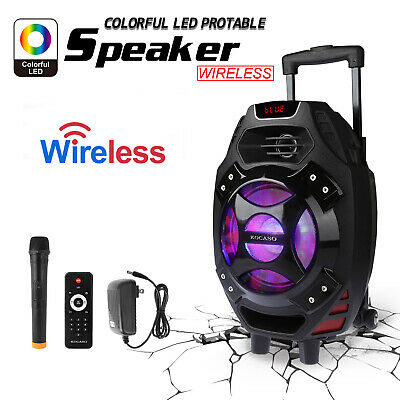 "18"" Portable Remote Audio PA Speaker w/ Bluetooth USB Wireless Microphone Party"