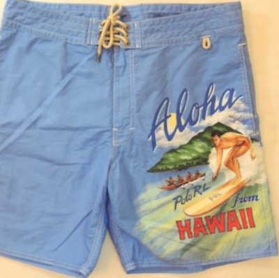 069b8cb244 Polo Ralph Lauren Aloha Hawaii Hawaiian Surf Board Vintage Trunks Swim  Shorts 30