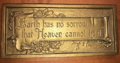 """Old Antique  A E Mitchell Metal Religious Wall Plaque """"Earth Has No Sorrow"""""""