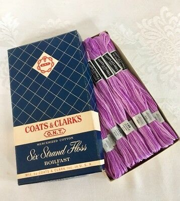 Vintage Coats & Clark's Box of 21 Skeins Embroidery Floss #186 Shaded Lavenders
