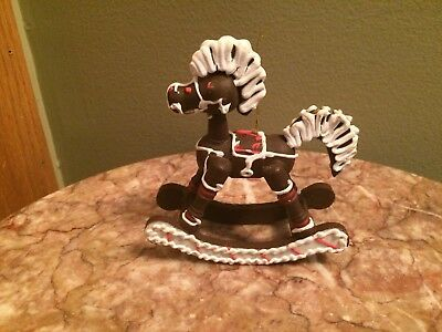 Vintage rocking horse Christmas tree ornament brown white gingerbread look