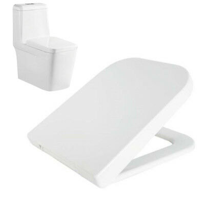 Luxury White Square Heavy Duty Soft Close Toilet Seat with TOP FIXING Hinges