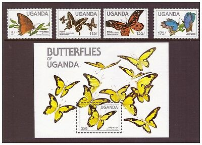Uganda MNH 1984 Butterflies  set  sheet mint  stamps
