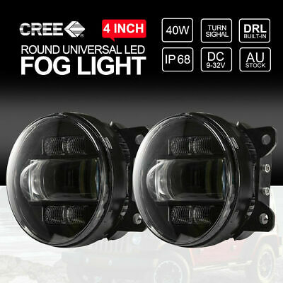 Pair 4 inch 40W Round CREE LED Fog Lights For Ford Ranger PX MK XLT Wildtrak
