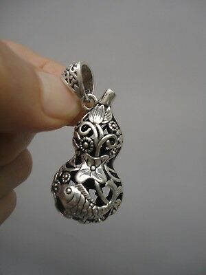 E1 Collected China Tibet Silver Handmade Fish Flowers Perfume Amulet Decoration