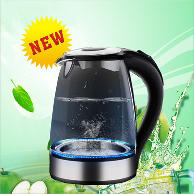 1.7L 360° Electric Clear Glass Kettle LED Illuminated 2200W Cordless Fast Boil