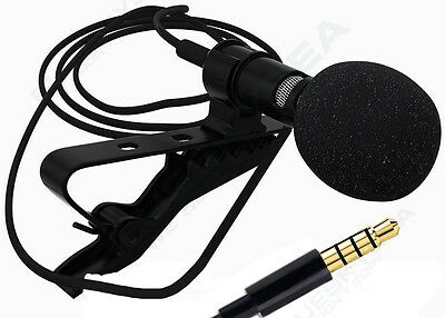 AU Lavalier Clip on Omni Lapel Condenser Microphone Mic 3.5MM for iPhone iPad PC