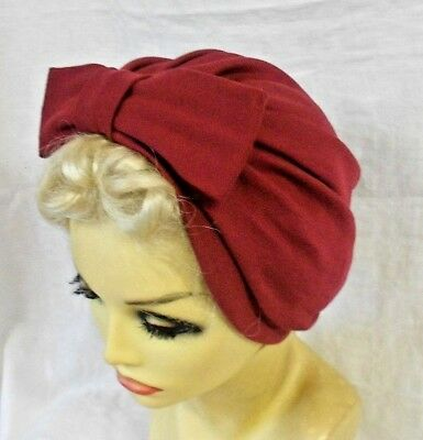 VINTAGE INSPIRED 1940's 1950's STYLE WINE RED TURBAN HAT WW2 LINDYHOP SWING