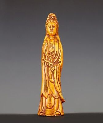 Marvelous Rare Old Chinese Hand Carving  GuanYin Kwan Yin Statue Boxwood US021