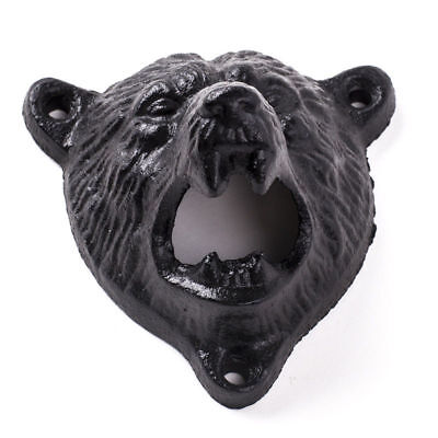Cast Iron Bottle Opener Bear Head Wall Mounted Kitchen Pub Bar Beer Opener Tool