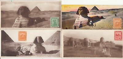 4 small OLD POST CARD EGYPTE EGYPT LE CAIRE CAIRO sphinx pyramids stamp 2