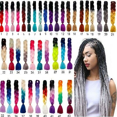"24"" Ombre Dip Dye Kanekalon Jumbo Braid Hair Extensions Fiber Braid Easy to Use#"