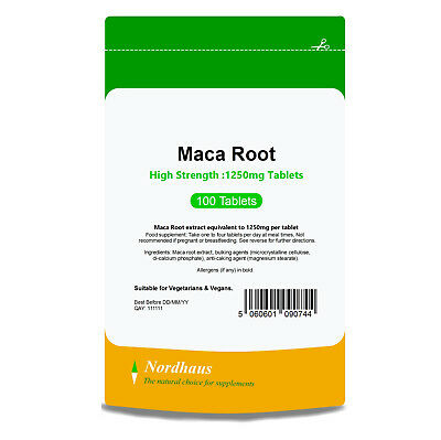 Maca Root 1250mg HIGH STRENGTH 100 Tablets - Nordhaus Supplements -  Made in UK