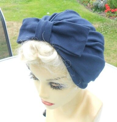VINTAGE INSPIRED 1940's 1950's STYLE  NAVY BLUE TURBAN HAT WW2 LINDYHOP SWING