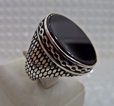 Turkish Handcraft 925 Sterling Silver  Jewelry Onyx Men's Ring All Size.
