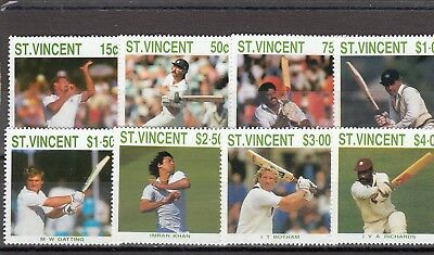 St Vincent - Sg1144-1151 Mnh 1988 Cricketers Of 1988 Season