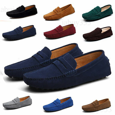 Mens Driving Shoes Loafers Suede Leather Moccasins Slip On Comfortable Shoes UK