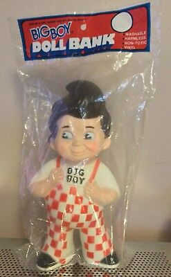 Vintage Big Boy Restaurant Advertising Rubber Doll Coin Bank 1973 Sealed in Bag