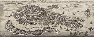 G554: Venice City Map in Accordance with a Genuine Von 1694, Pressure on Canvas