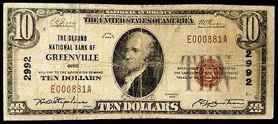 1929 $10.00 National Currency, The Second National Bank of Greenville, Ohio!