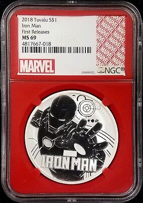 2018 Marvel, IRON MAN Tuvalu One Dollar silver coin, First Releases MS 69 by NGC
