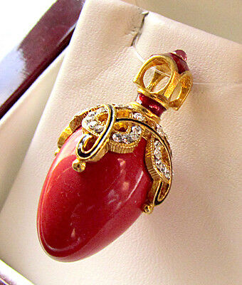 Sale ! Fabulous Russian Egg Pendant Sterling Silver 925 & 24K Gold Genuine Coral