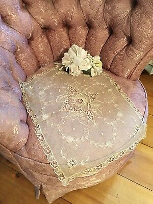 Antique Lace Runner Cotton Netting French Tambour Lace Circa 1920s A13