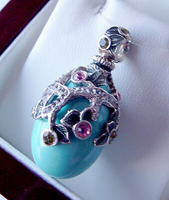 Bridal & Wedding Party Jewelry Superb Egg Pendant Handmade Of Enameled Solid Sterling Silver 925 With Cross Special Summer Sale Jewelry & Watches