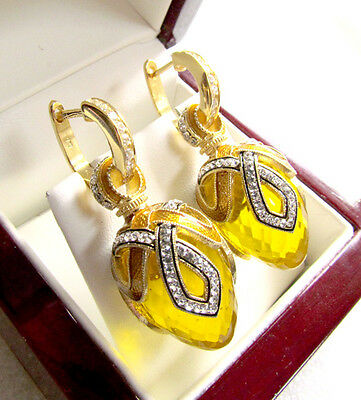 Gorgeous Russian Citrine Made Of Solid Sterling Silver 925 & 24K Gold Earrings