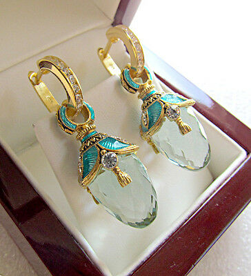 Sale ! Stunning Russian Aquamarine Solid Sterling Silver 925 & 24K Gold Earrings