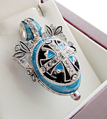 Jewelry & Watches Superb Egg Pendant Handmade Of Enameled Solid Sterling Silver 925 With Cross Special Summer Sale