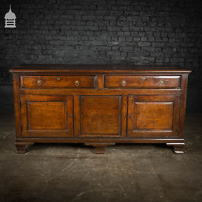 George II Oak Sideboard with Brass Pull Handles