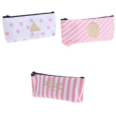 3x Canvas Pencil Bag Student Stationery Makeup Bag Pen Case Zipper Plaid Dot