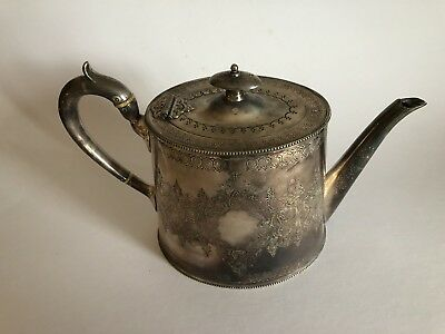 Early Victorian Silver Plate Teapot Engraved Very Good Vintage Condition