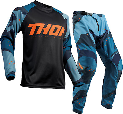 2020 Thor Sector Camo Blue Offroad MX Motocross Race Kit Gear Adult