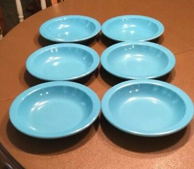 "6 Dallas Ware Cereal Soup Salad 7.5"" Bowls 12 Oz Turquoise USA"