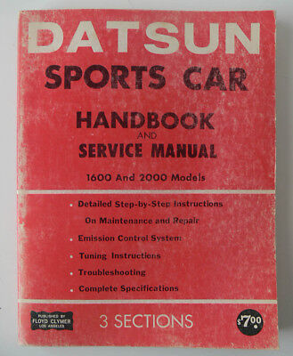 Vintage DATSUN SPORTS CAR Floyd Clymer REPAIR MANUAL model 1600/2000 complete NR