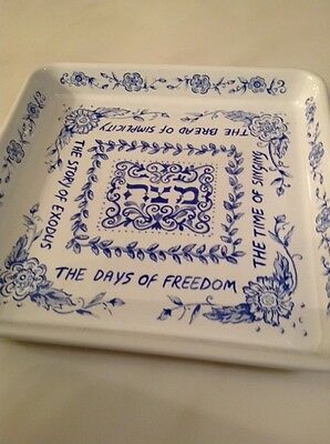 Lovely Longaberger Matzah Dish Blue & White Pottery / Porcelain Judaica Passover