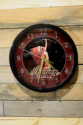 Indian Motorcycle Maiden Nude Wall Clock 10 inch Non Ticking Sweep Glass