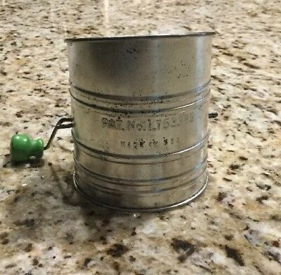 Vintage Flour Sifter Green Wooden Handle1930 Patent No.1753995