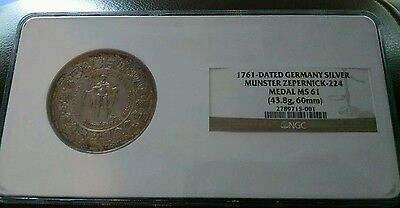 Very Rare 1761 Germany Silver Medal: Munster Zepernick - NGC MS61 60mm 43.8gr