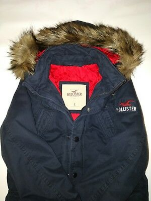 NEW Mens Hollister Navy Parka with faux fur hood Size S