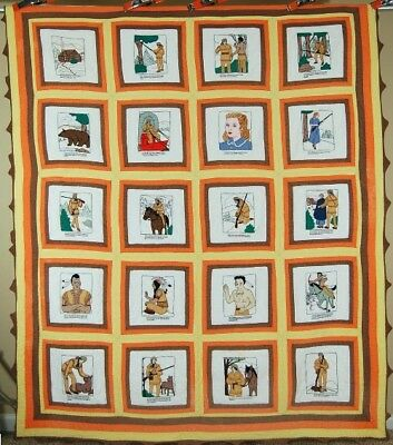 AMAZING Vintage Pictorial Daniel Boone Native American Historical Antique Quilt!