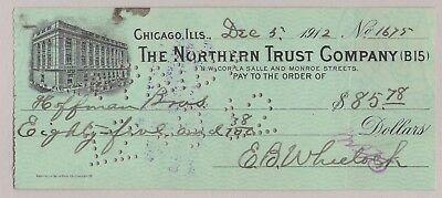 1912 Bank Check Northern Trust Co. Chicago, Il ~ Bank Vignette