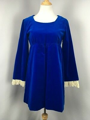 Mod 60s Vintage Cobalt Blue Lace Victorian Empire Waist Prairie Shift Dress M/L