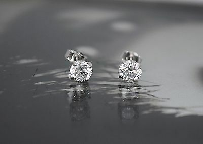 14K White Gold Created Diamond Brilliant Basket Push Back Stud Earrings 1TCW