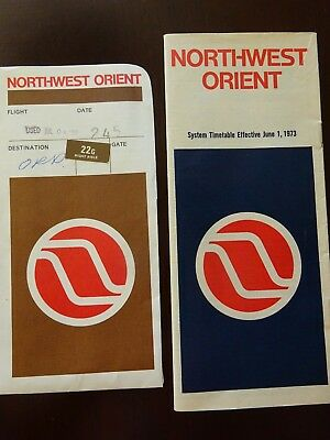 1973 Northwest Orient Airlines System Timetable / Ticket  & Baggage Jacket ~ NWA