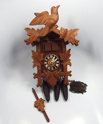 Black Forest German Wooden Edelweiss Cuckoo Clock Thorens Swiss Musical Movement